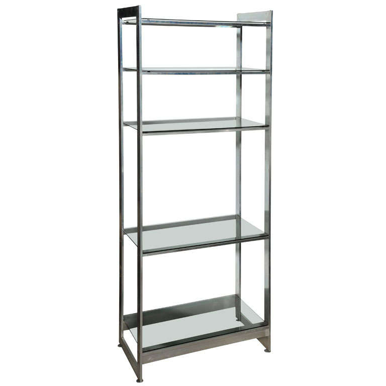 Substantial Solid Aluminum Etagere with Five Lightly Smoked Glass Shelves