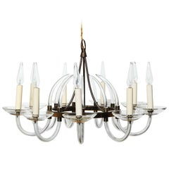 Bavarian Nine Arm Single Tier Scrolled Crystal Candlestick Chandelier, 1940