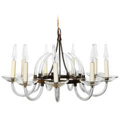 1940s Translucent Bavarian Crystal and Brass Nine-Arm Candlestick Chandelier