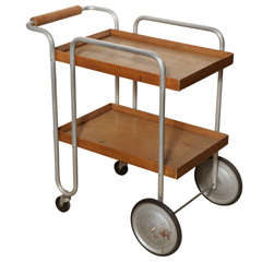1930s, Bauhaus Birch and Aluminum Rolling Two-Shelf Beverage Serving Cart