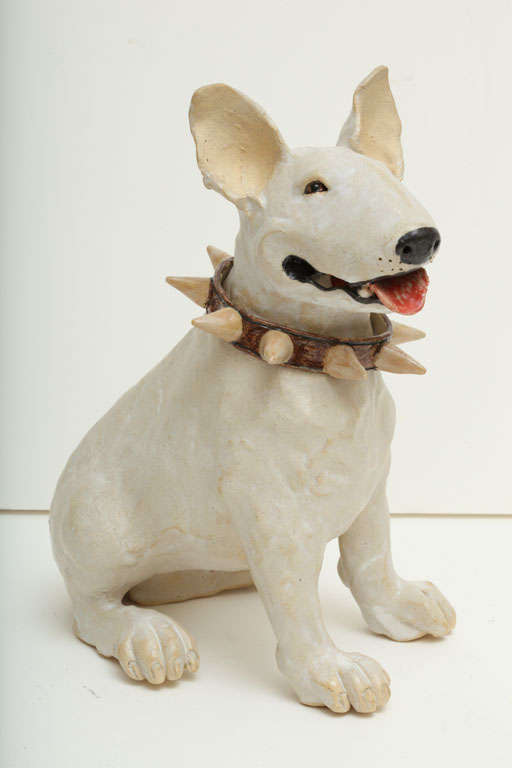 Large Handmade Ceramic Bull Terrier Dog Statue image 3
