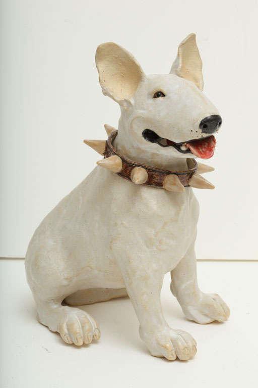 Large Handmade Ceramic Bull Terrier Dog Statue 3