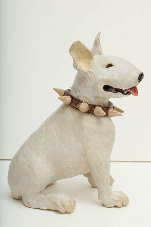 Large Handmade Ceramic Bull Terrier Dog Statue In Excellent Condition For Sale In New York, NY
