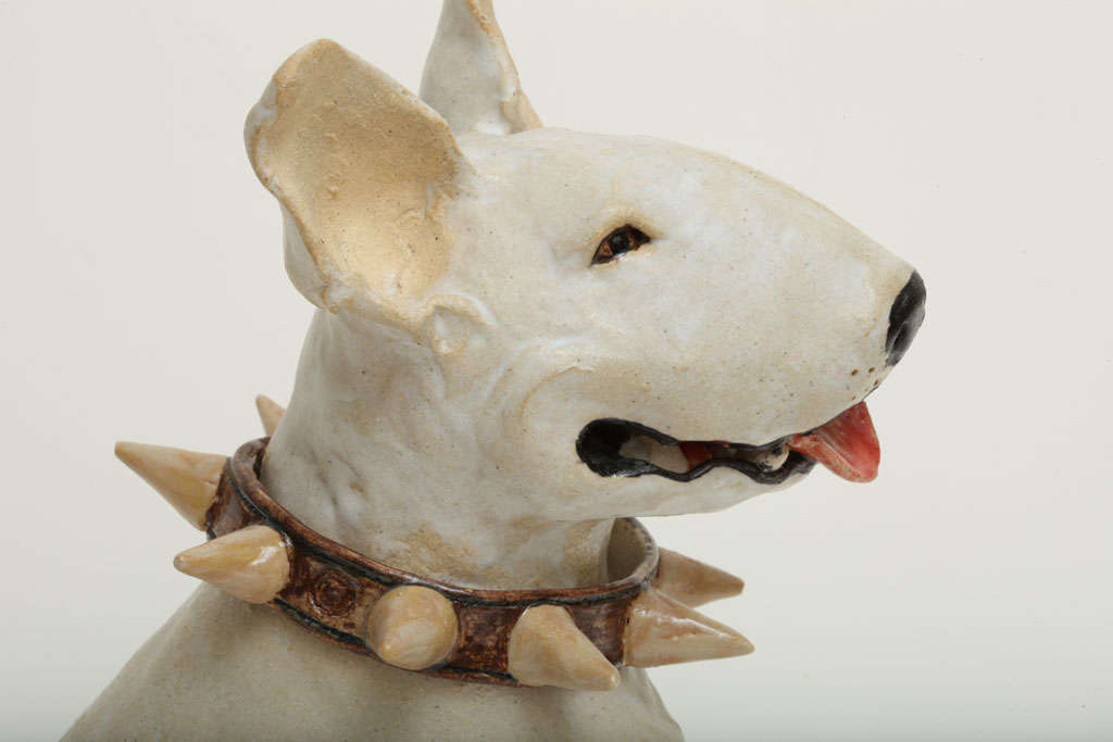 Contemporary Large Handmade Ceramic Bull Terrier Dog Statue For Sale
