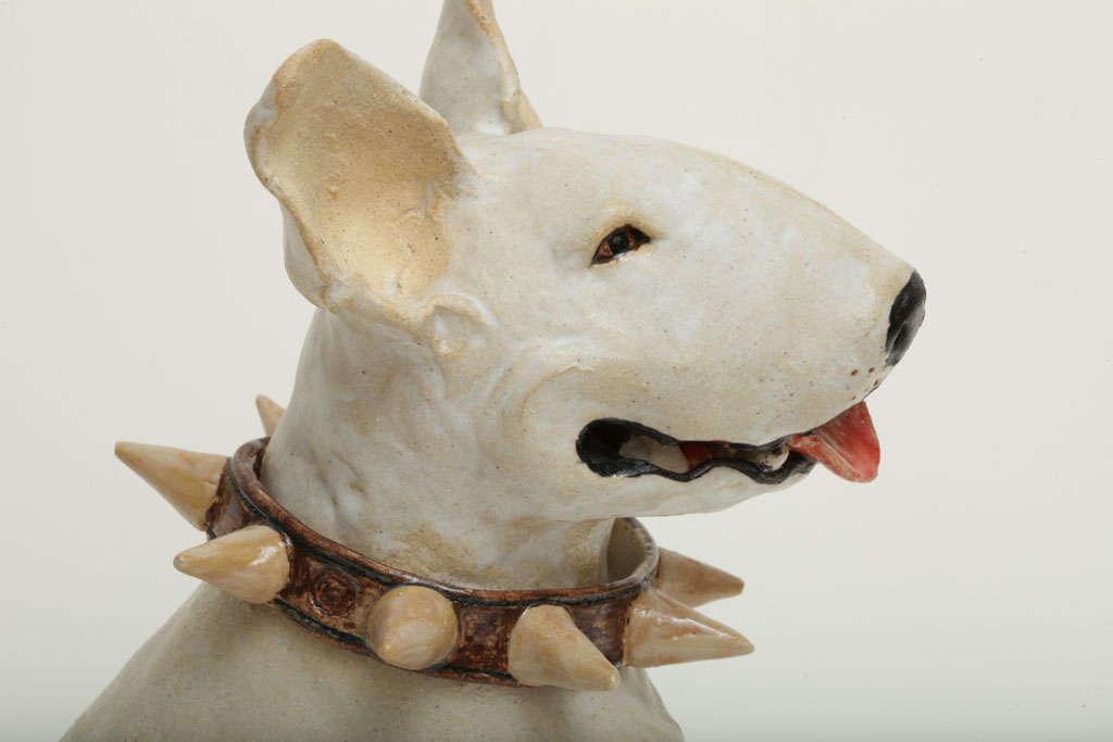 Large Handmade Ceramic Bull Terrier Dog Statue 5