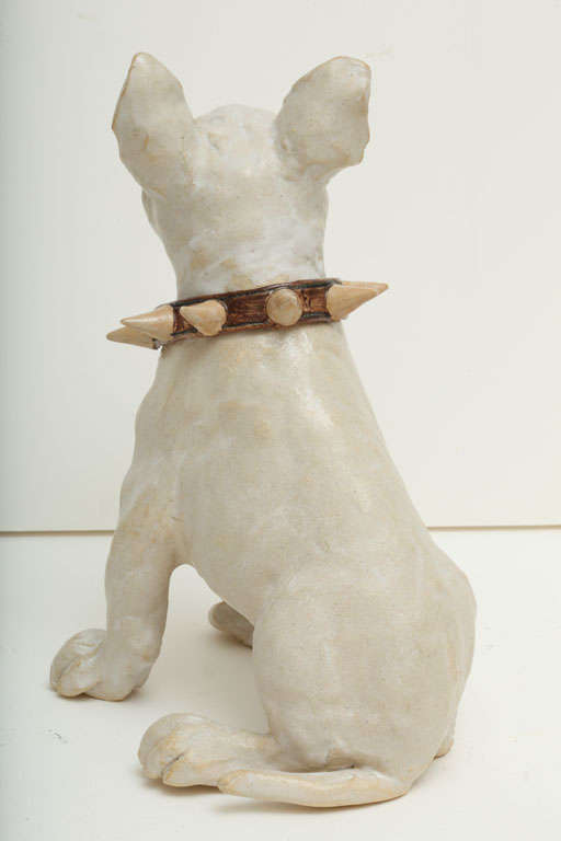 Large Handmade Ceramic Bull Terrier Dog Statue image 7
