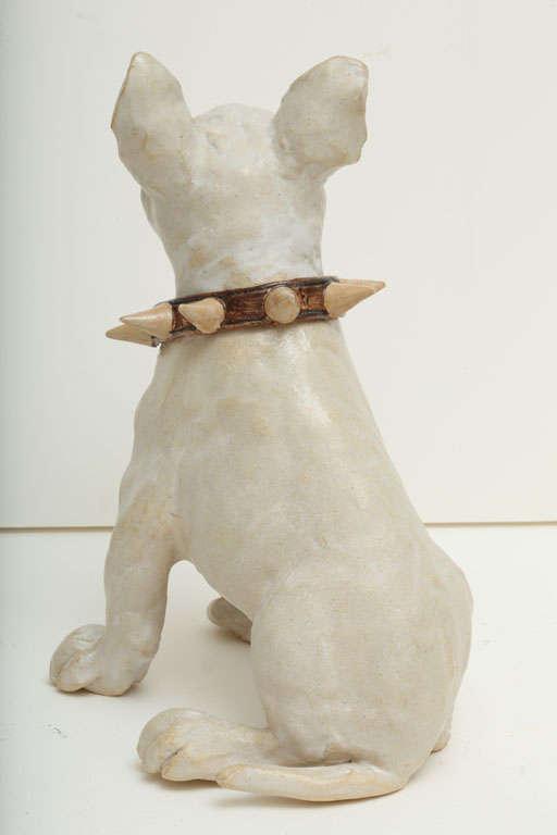 Large Handmade Ceramic Bull Terrier Dog Statue 7