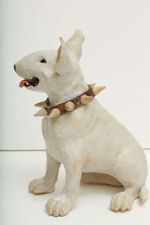 Large Handmade Ceramic Bull Terrier Dog Statue image 8