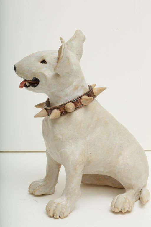 Large Handmade Ceramic Bull Terrier Dog Statue 8