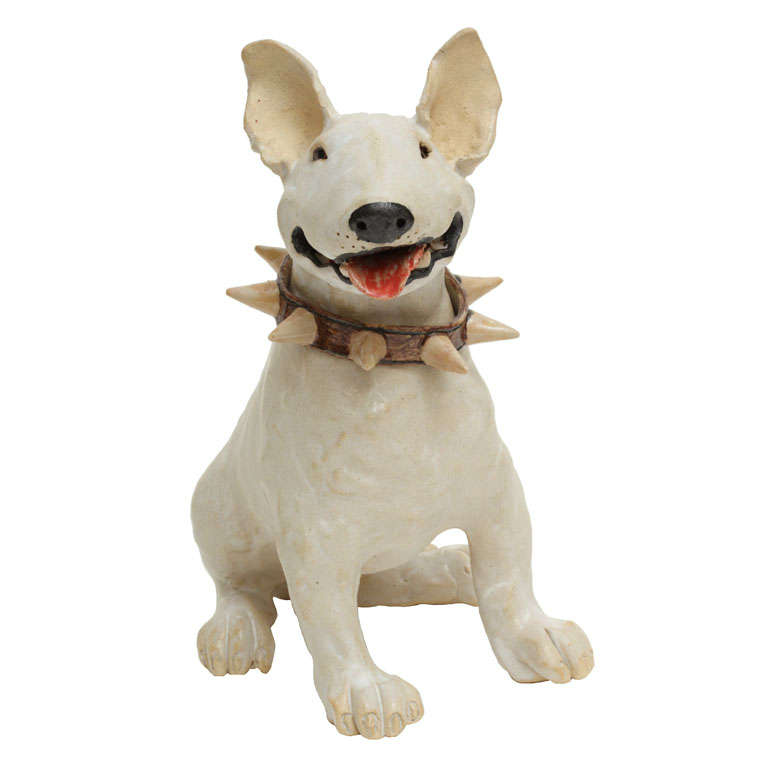 Large Handmade Ceramic Bull Terrier Dog Statue