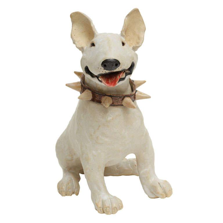 Large Handmade Ceramic Bull Terrier Dog Statue