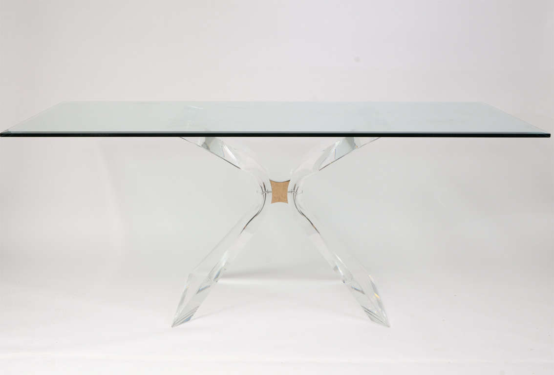 Lion in Frost X Base Lucite Table Base For Sale at 1stdibs