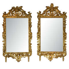 Extremely Important Pair of Irish Carved Gilt Wood Rococo Mirrors