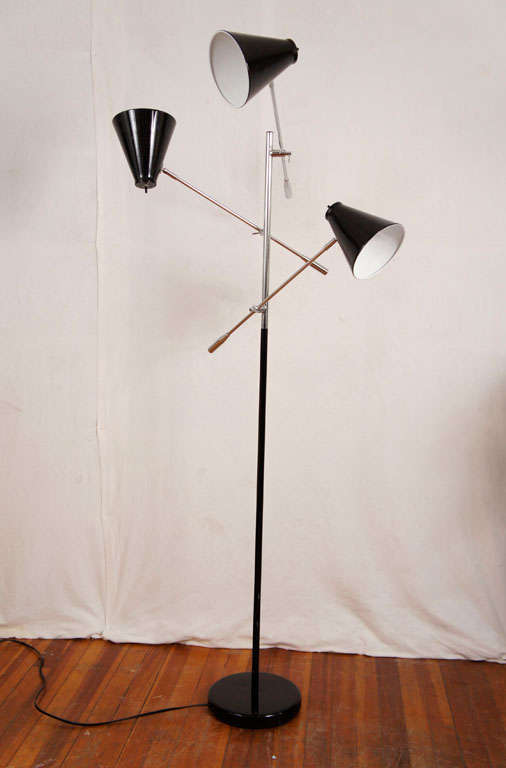 3 Arm Floor Lamp in the Arredoluce Triennale Style at 1stdibs