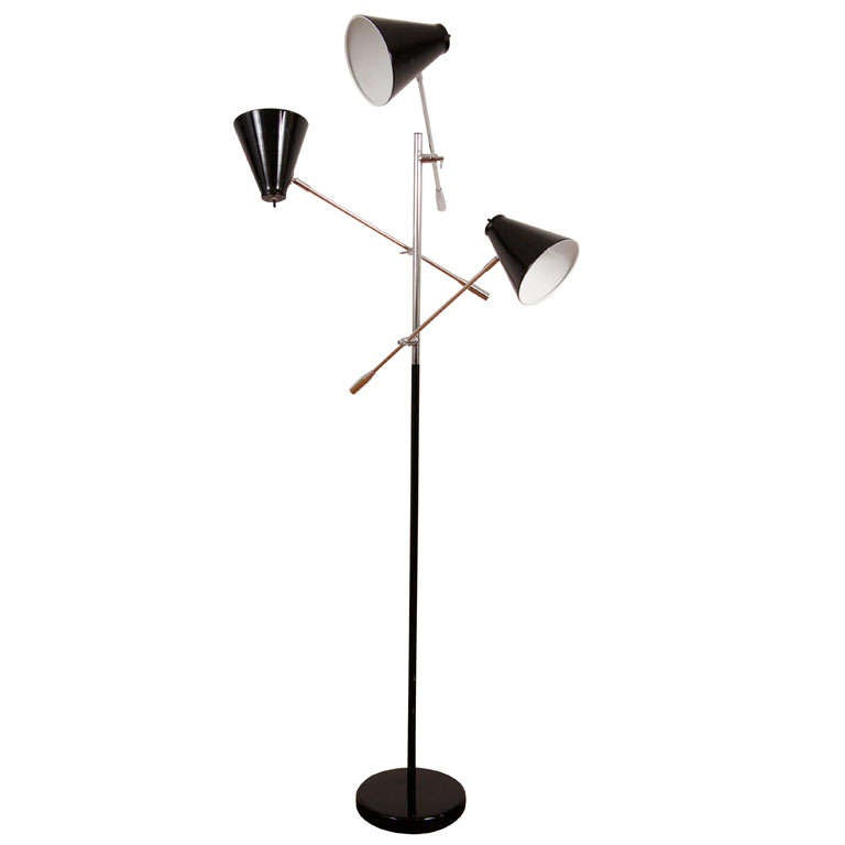 3 arm floor lamp in the arredoluce triennale style at 1stdibs 3 arm floor lamp in the arredoluce triennale style for sale aloadofball Image collections