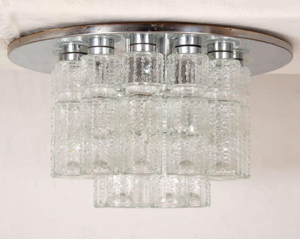 Flush mount glass cylinder ceiling lights (4) Lightolier 2