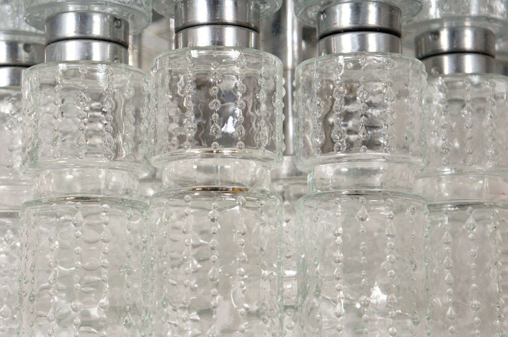 Flush mount glass cylinder ceiling lights (4) Lightolier 3