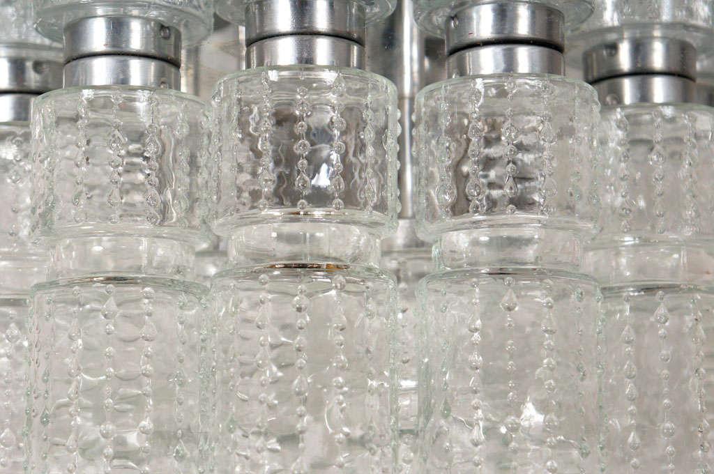 Mid-Century Modern Flush mount glass cylinder ceiling lights (4) Lightolier For Sale