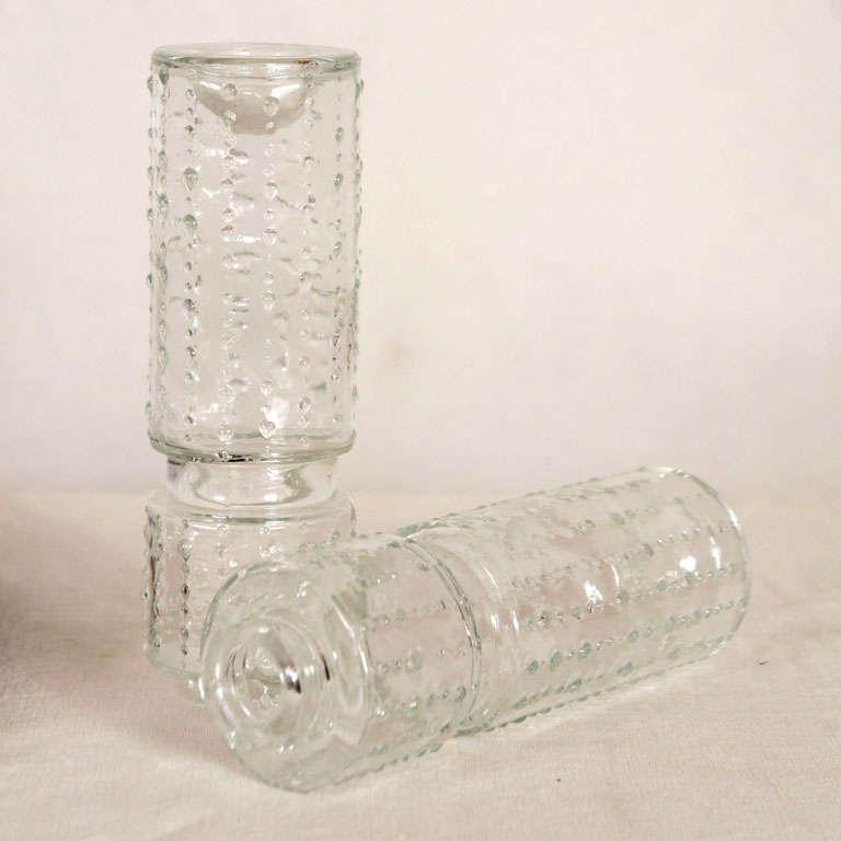 Flush mount glass cylinder ceiling lights (4) Lightolier For Sale 1
