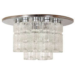 Flush mount glass cylinder ceiling lights (4) Lightolier