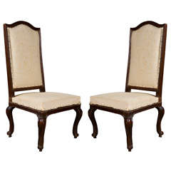 Pair of Italian Walnut Chairs, circa 1750