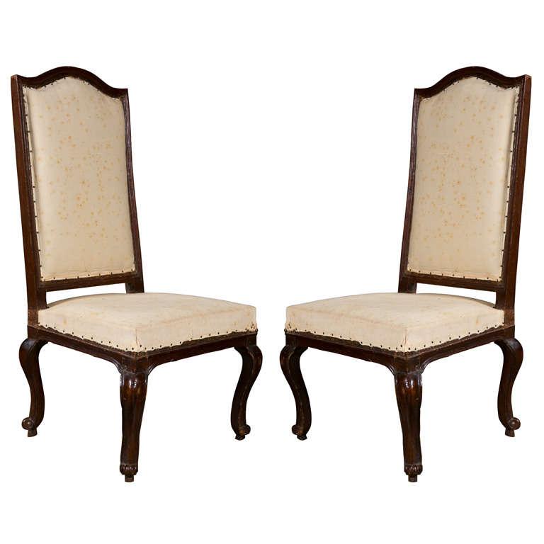 Pair of Italian Walnut Chairs, circa 1750 For Sale