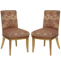 Fine Set of Ten Art Deco Gilt-Wood Dining Chairs by Jean-Maurice Rothschild