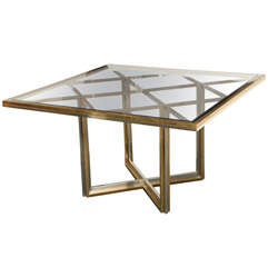 1970's Brass and Chrome Center / Dining Table