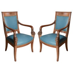 Pair of Slate Blue Directoire Style Chairs