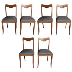 Set of Six Italian 1950s Sculptural Dining Chairs