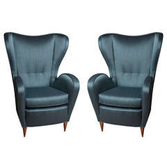 Stunning Pair of Italian Wing Chairs