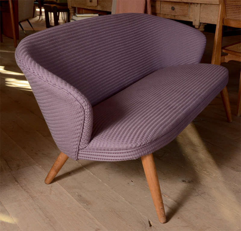 Sleek and perfectly proportioned midcentury Danish Setee newly re-upholstered in a Purple Knoll Proenza Schouler fabric.