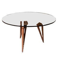 Midcentury Italian Walnut and Glass Table