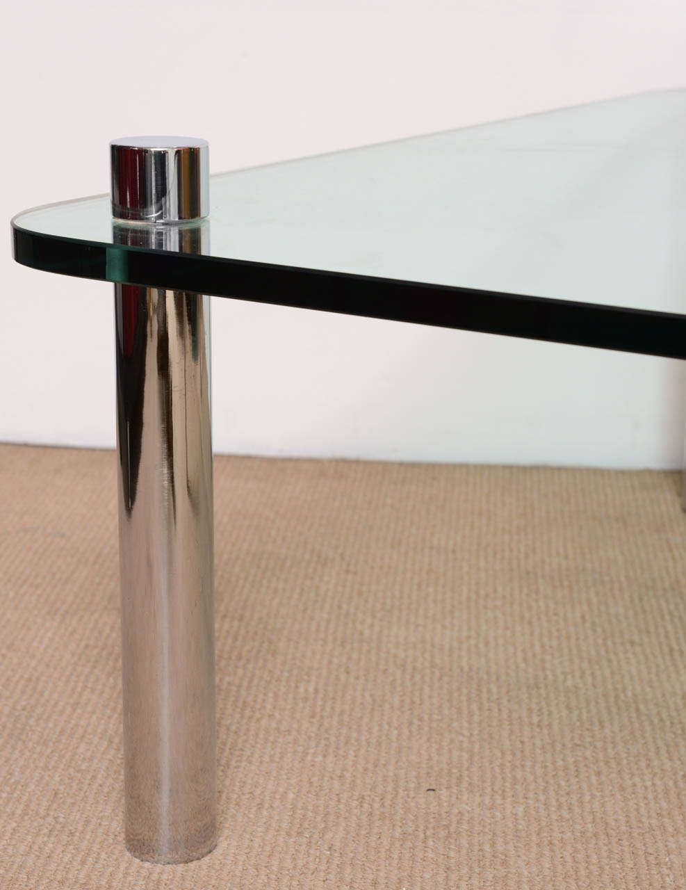 Mid-Century Modern Minimalist Pace Style Chrome and Glass Cocktail table For Sale