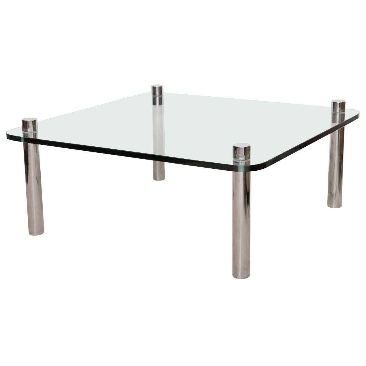 Minimalist Pace Style Chrome and Glass Cocktail table For Sale