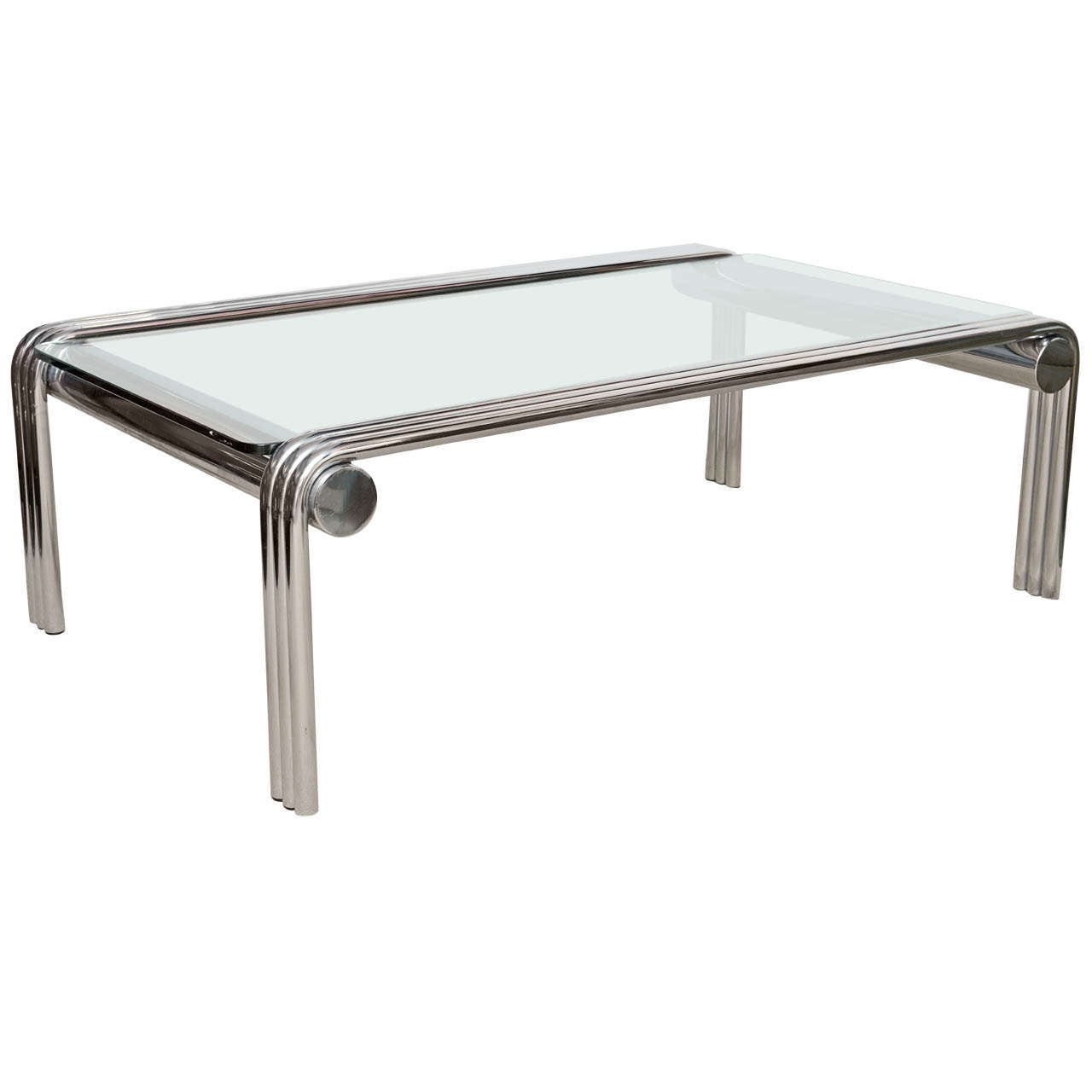 Mid century tubular chrome and glass coffee table at 1stdibs for Designer cocktail tables glass