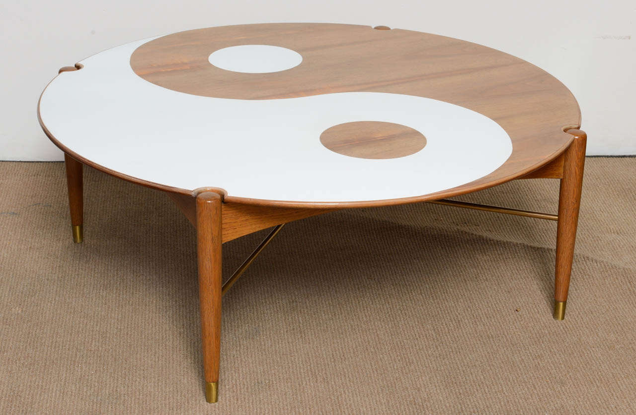 Yin and yang mid century modern round walnut swedish for Round contemporary coffee table