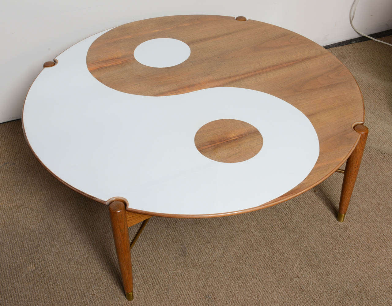 yin and yang mid century modern round walnut swedish coffee table for