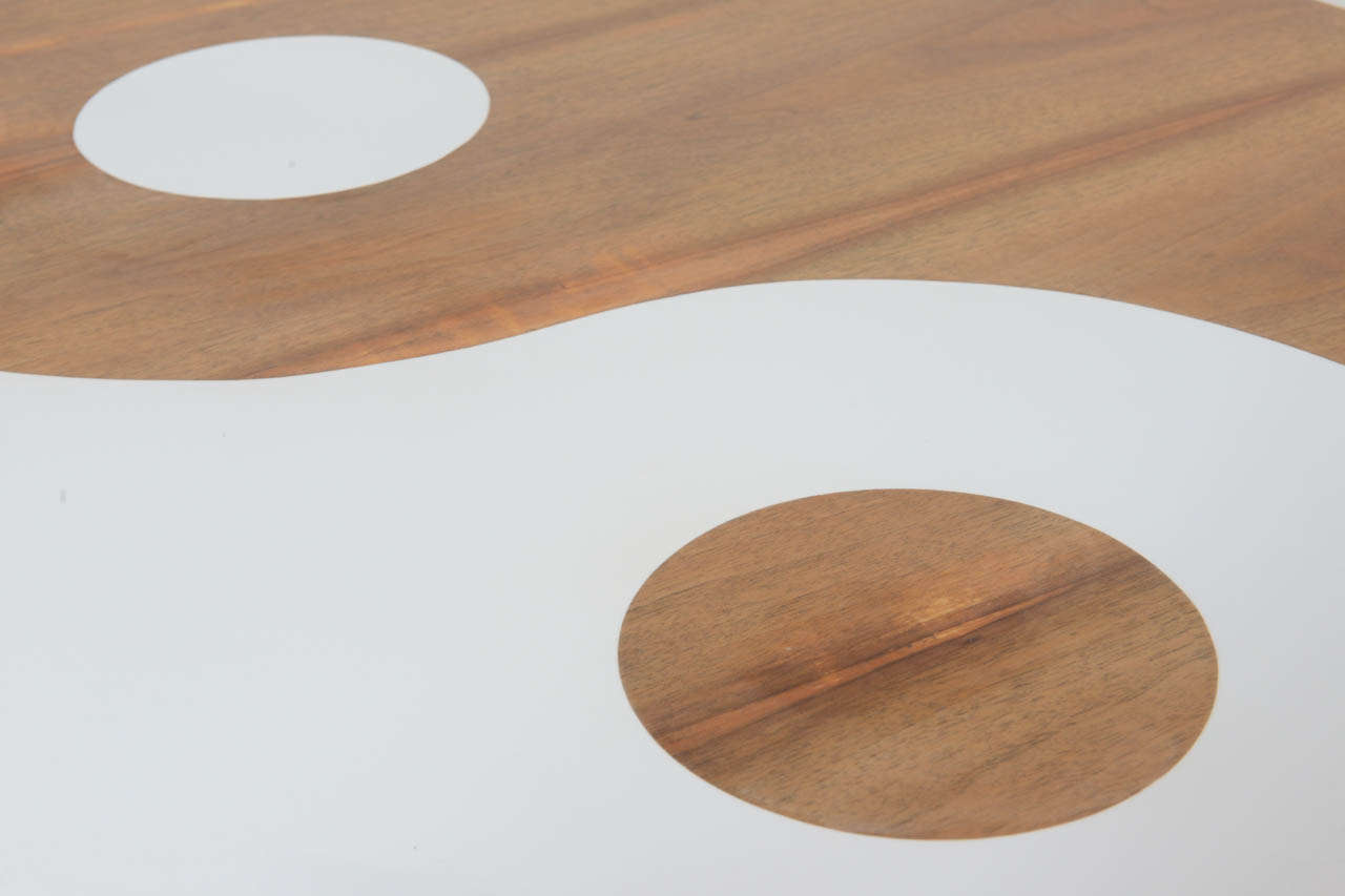 Yin And Yang Mid Century Modern Round Walnut Swedish Coffee Table At 1stdibs