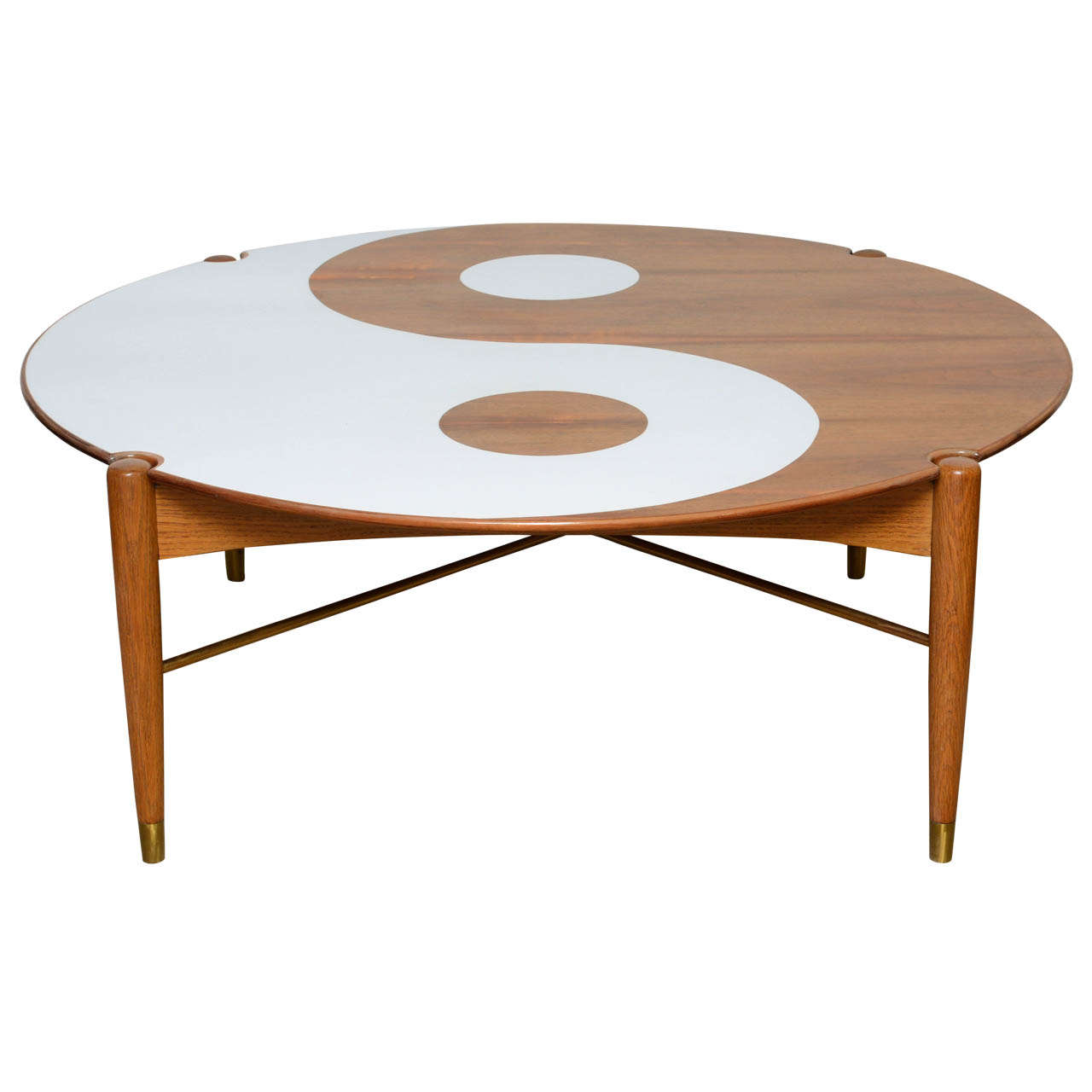 Yin and yang mid century modern round walnut swedish coffee table for sale at 1stdibs Round coffee table modern