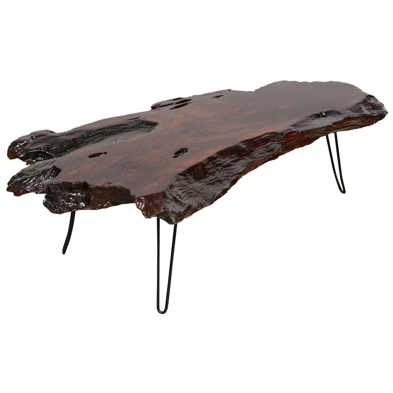 midcentury tree trunk resin coffee table 1