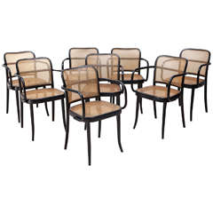 Set of 4 Ebonized Bentwood Dining Chairs by Stendig