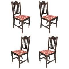 Set of Four Antique Oak Chairs