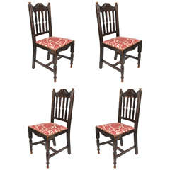 Set of Four Antique Oak Chairs