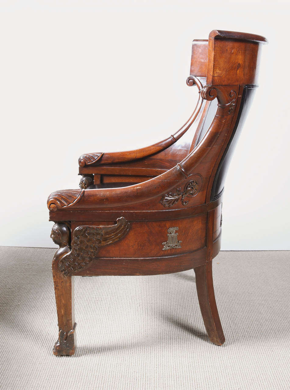 French Empire Mahogany Armchair For Sale
