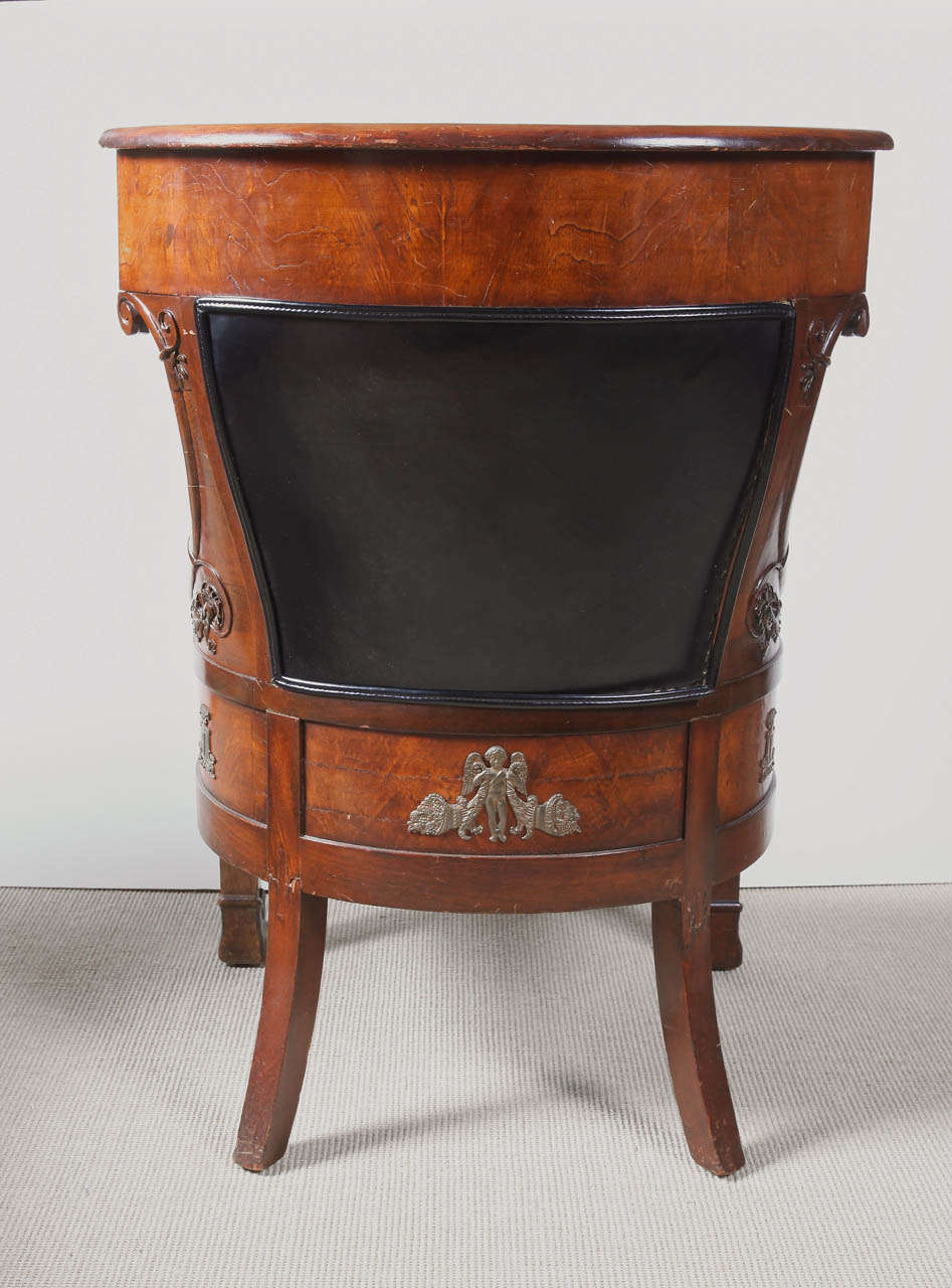 Gilt Empire Mahogany Armchair For Sale