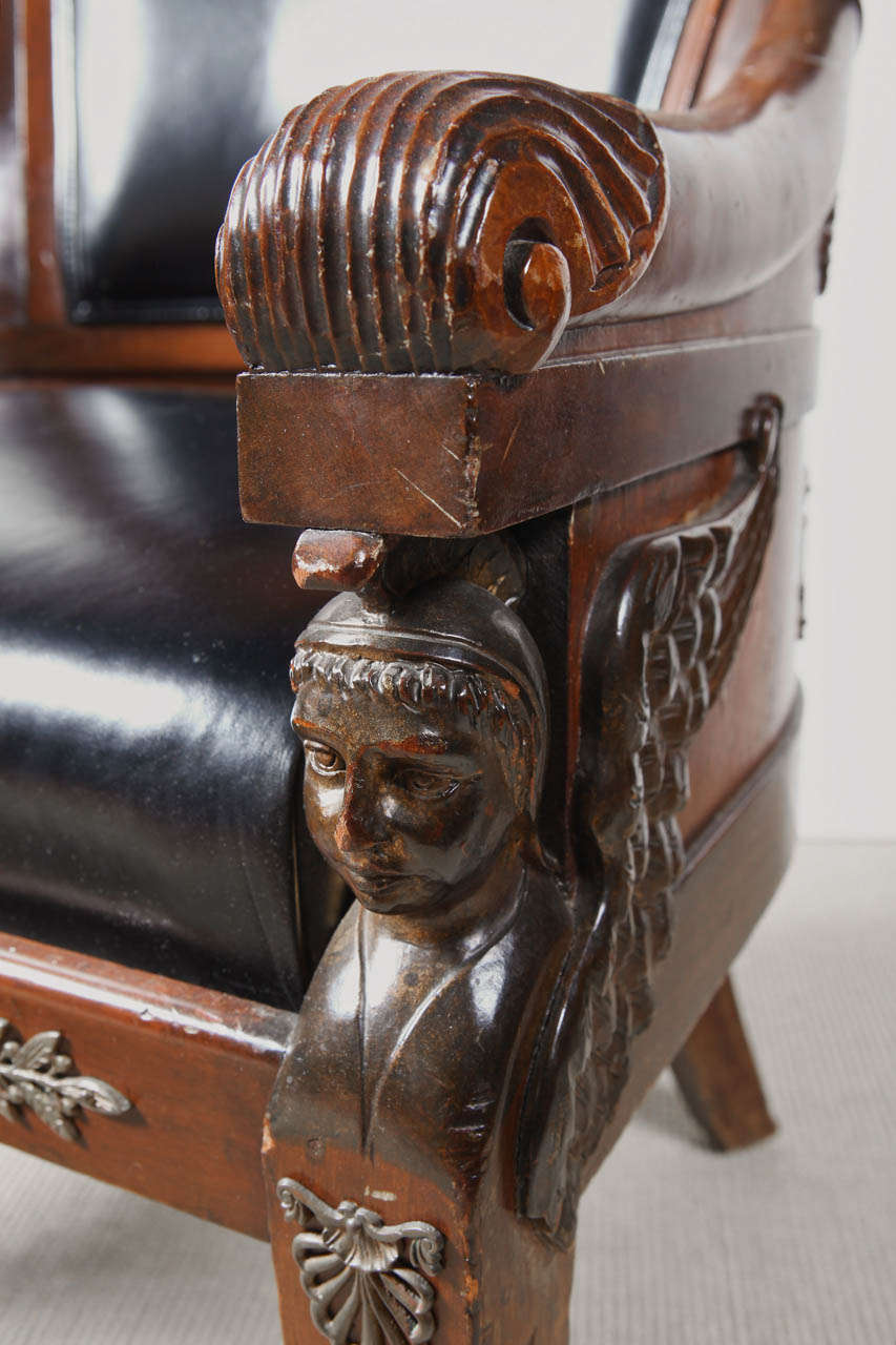 19th Century Empire Mahogany Armchair For Sale