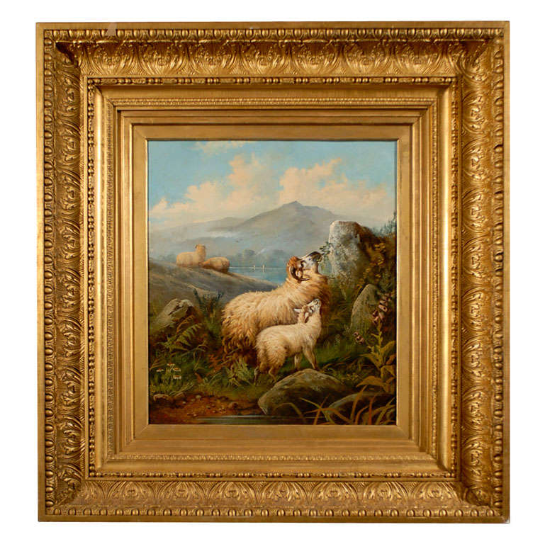 English 19thCentury Sheep in Landscape Painting by John W. Morris in Gilt Frame