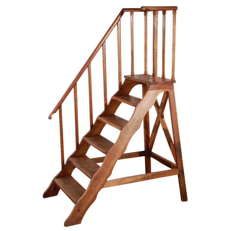 Late 19th Century Mahogany Library Ladder 1