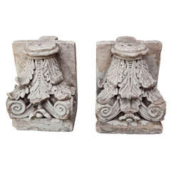 Fine Pair of Heavily Carved Portland Stone Capitals